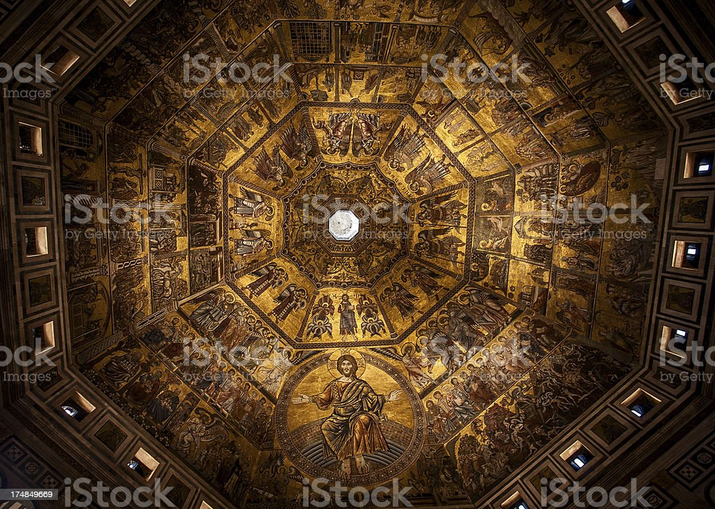 The Baptistery Roof in Florence stock photo