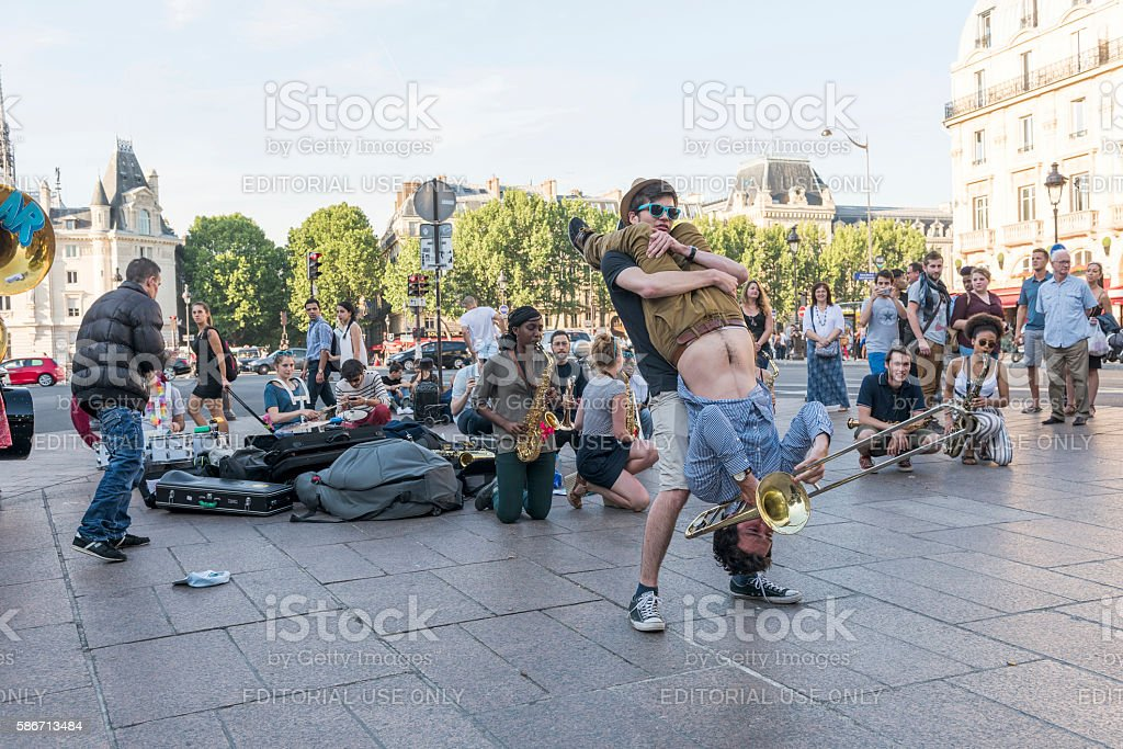 The bare brass band busking at Paris, France stock photo