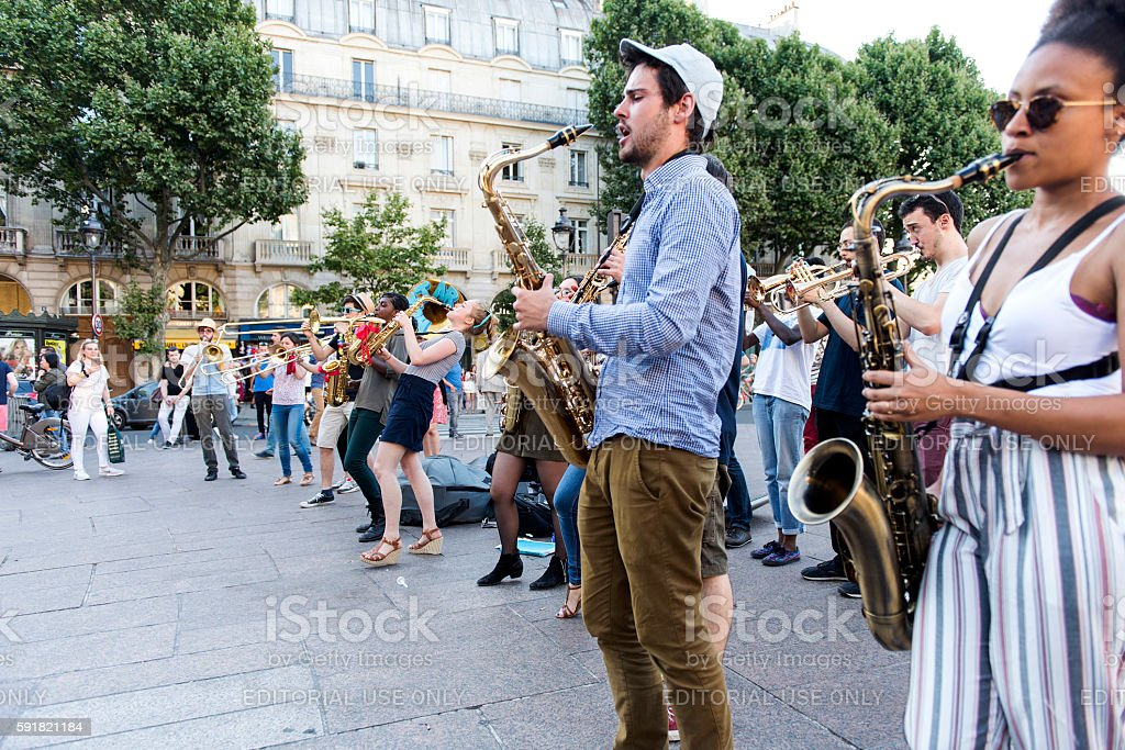 The bare brass band busking at Paris, France. stock photo