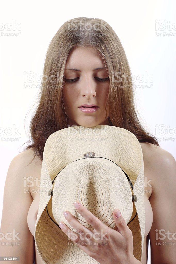 The bared Dziewczyna pokryta przez kapelusz zbiór zdjęć royalty-free
