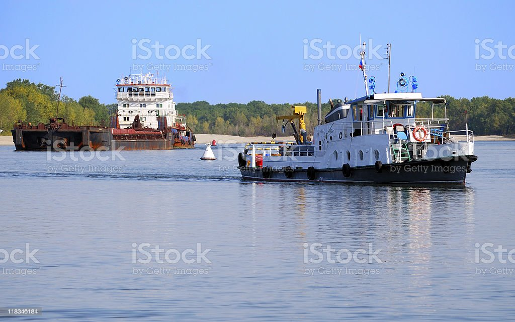 The barge and boat stock photo