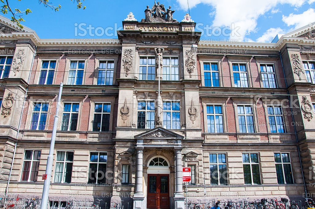 The Barlaeus Gymnasium. Amsterdam, the Netherlands. stock photo