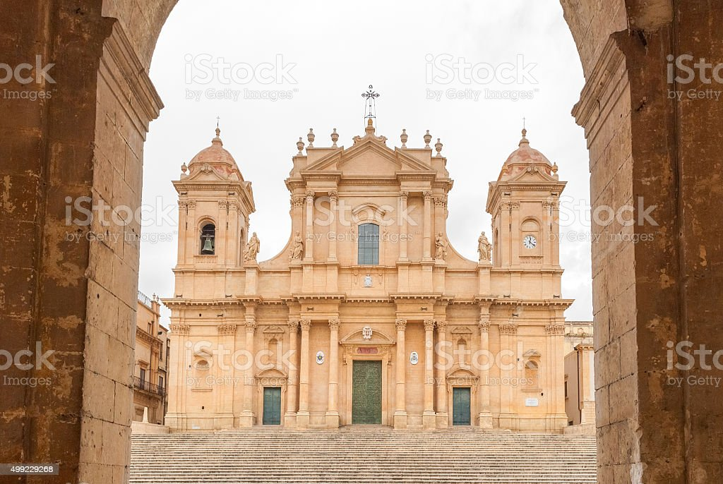The baroque cathedral of Noto (UNESCO site in Sicily) stock photo