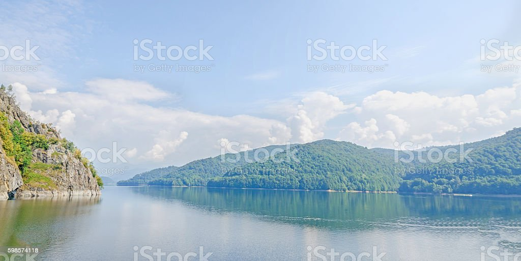 The barrage, dam Vidraru on the river Arges stock photo