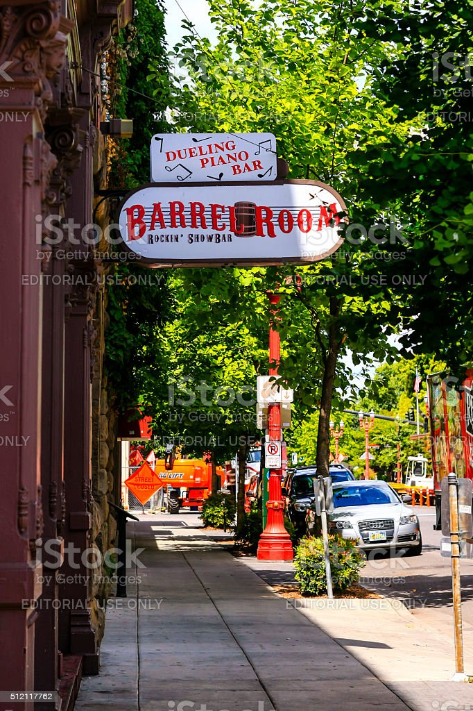 The Barrel Room bar in downtown Portland Oregon stock photo