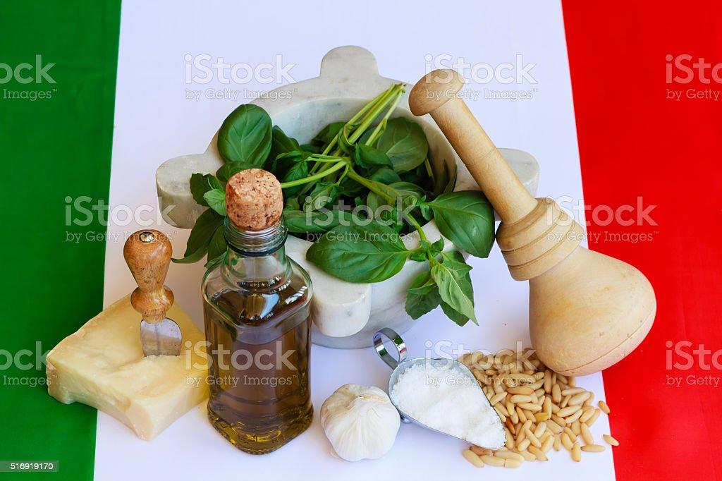 the basic ingredients of italian pesto stock photo