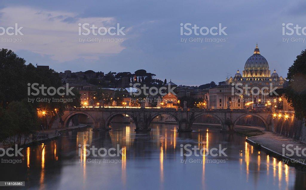 The Basilica of Saint Peter at Night royalty-free stock photo