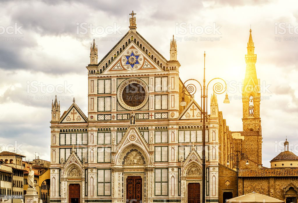 The Basilica of Santa Croce in Florence, Italy stock photo