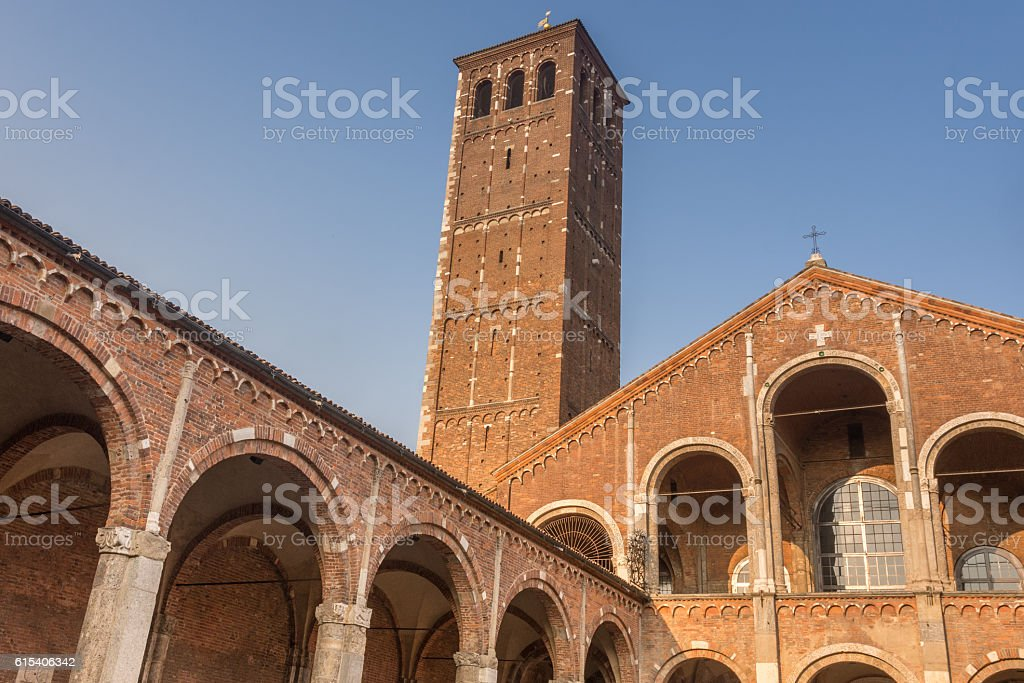 The Basilica of Sant'Ambrogio, Milan, Lombardy, Northern Italy. stock photo