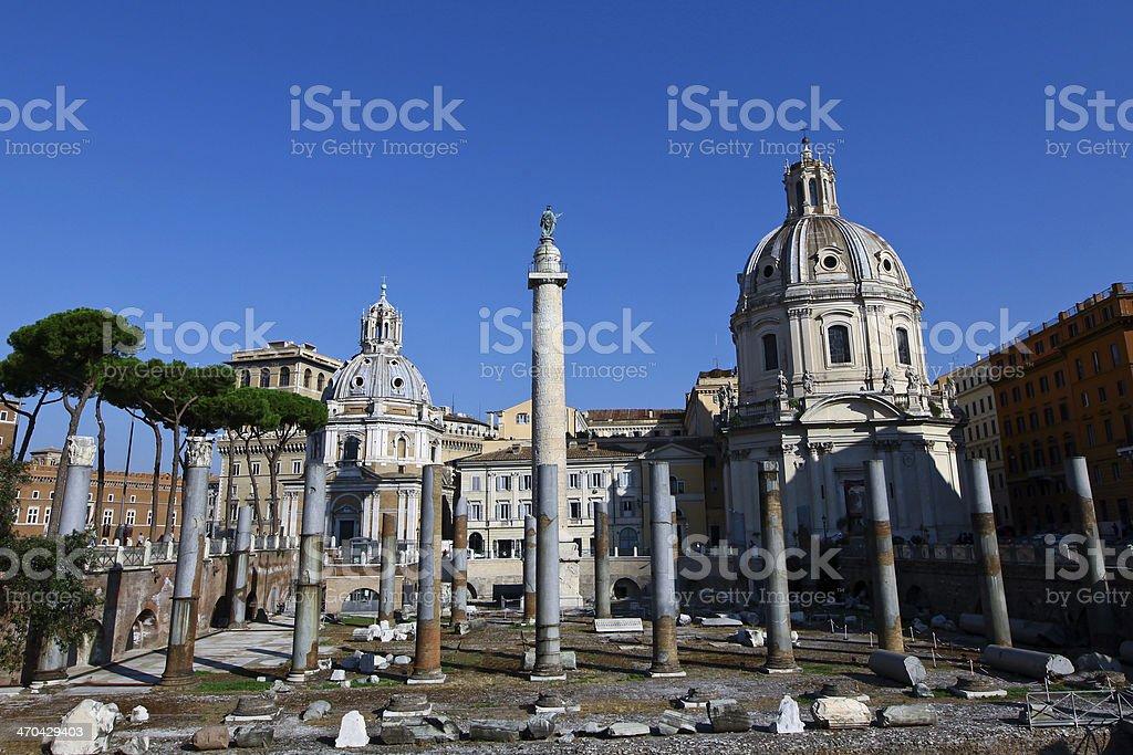 The Basilica Ulpia in Rome stock photo