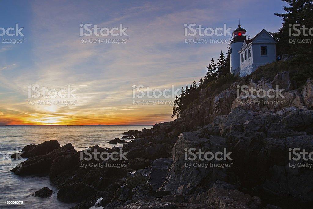 The Bass Harbor Head Light at sunset stock photo