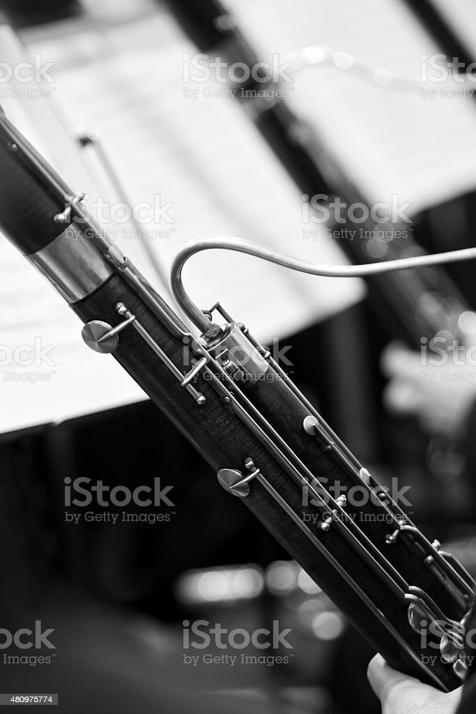 The bassoon in the orchestra closeup stock photo
