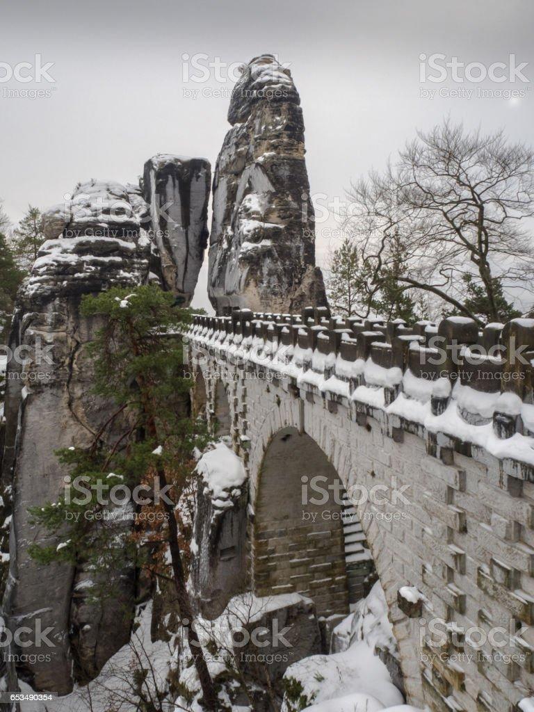 Die Basteibrücke in der Sächsischen Schweiz stock photo