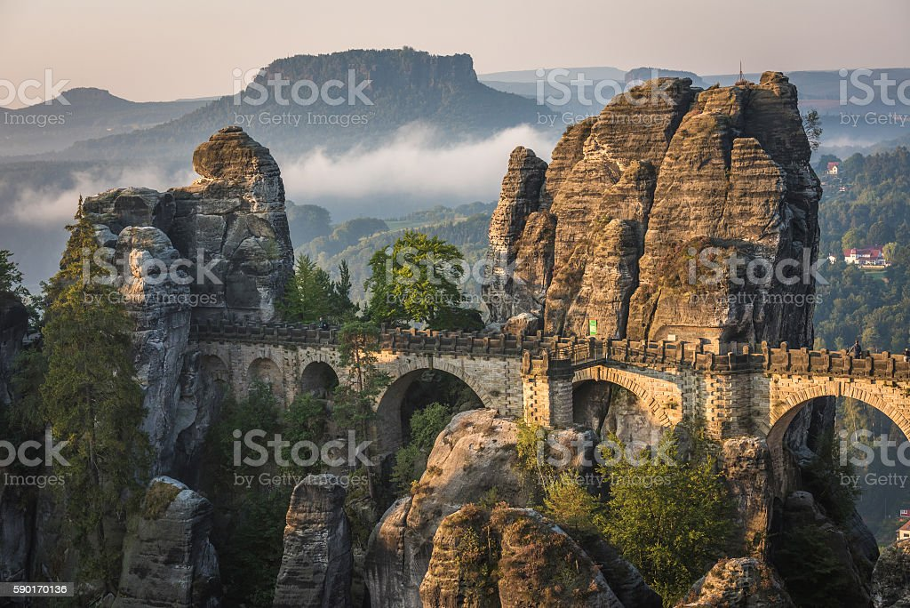 The Bastei bridge, Saxon Switzerland National Park, Germany stock photo