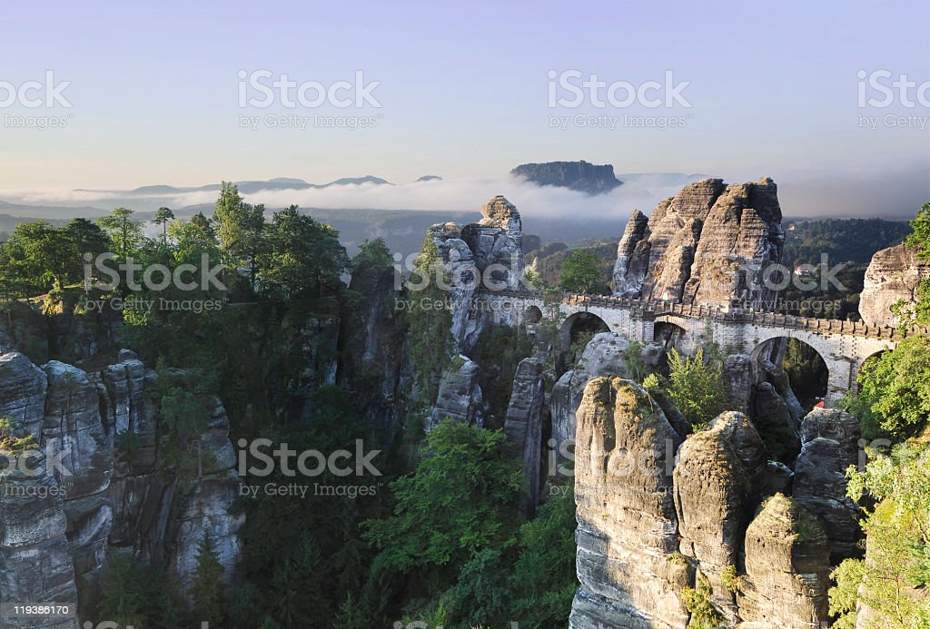 The Bastei - Landmark in the Saxon Switzerland stock photo