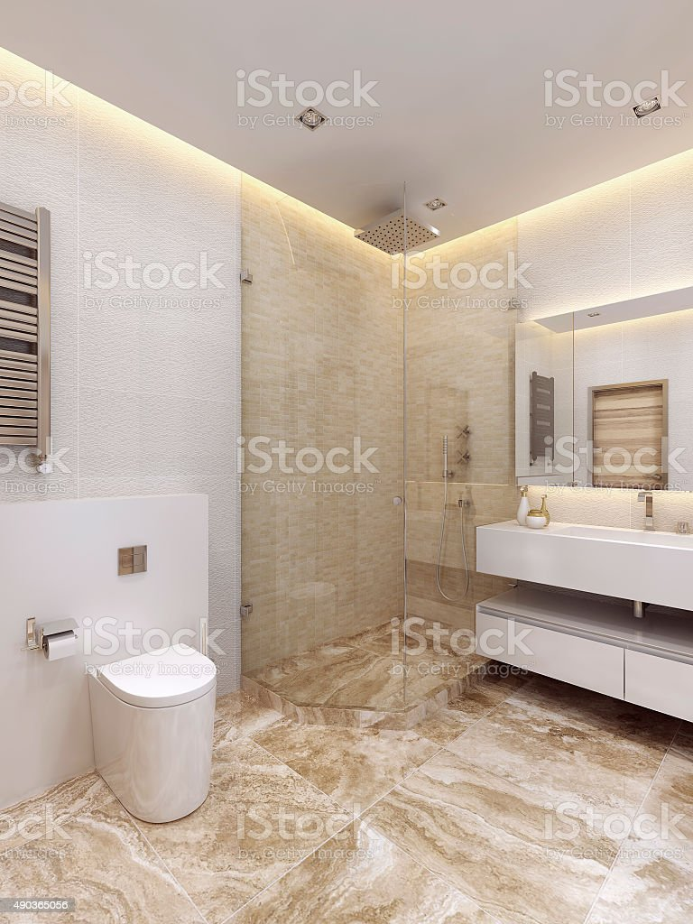 The bathroom is in a minimalist style. stock photo