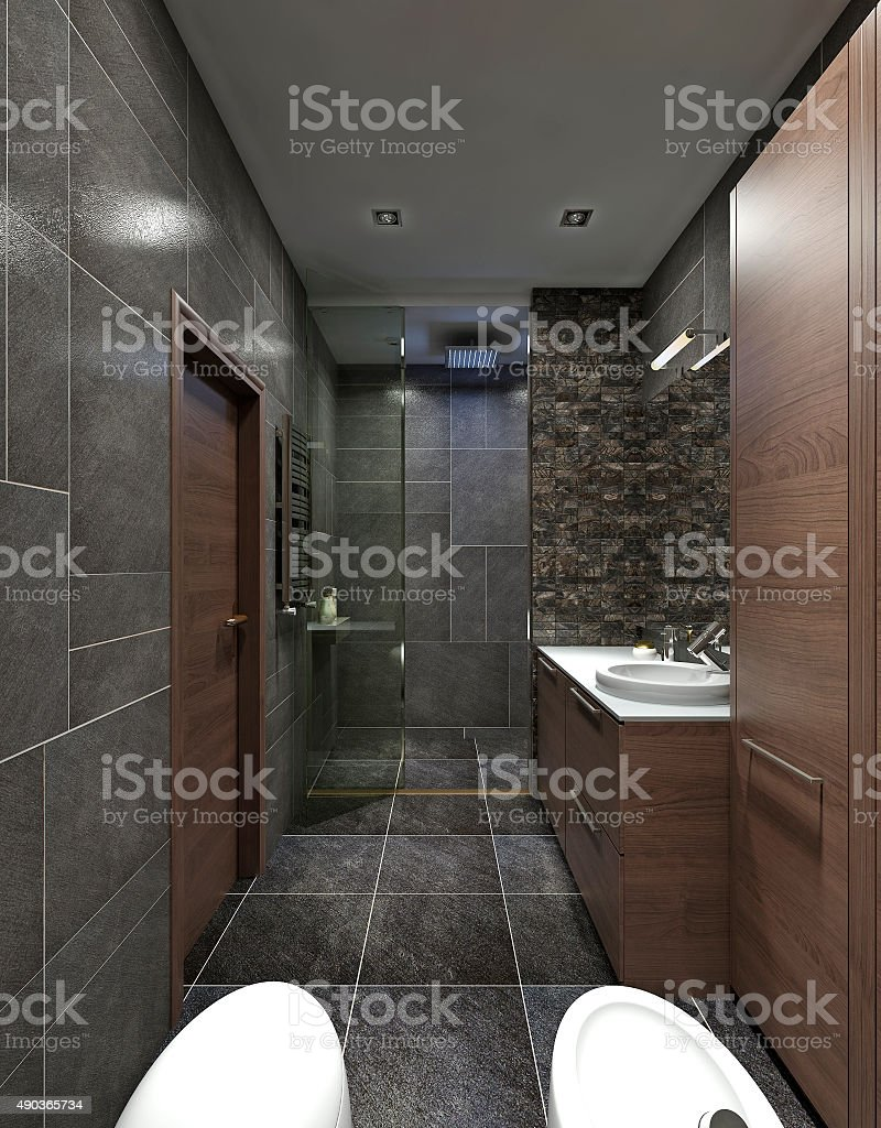 The bathroom is in the style of constructivism. stock photo