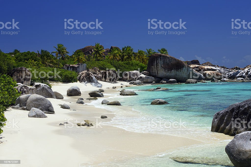 The Baths - beautiful beach in Virgin Gorda, BVI stock photo