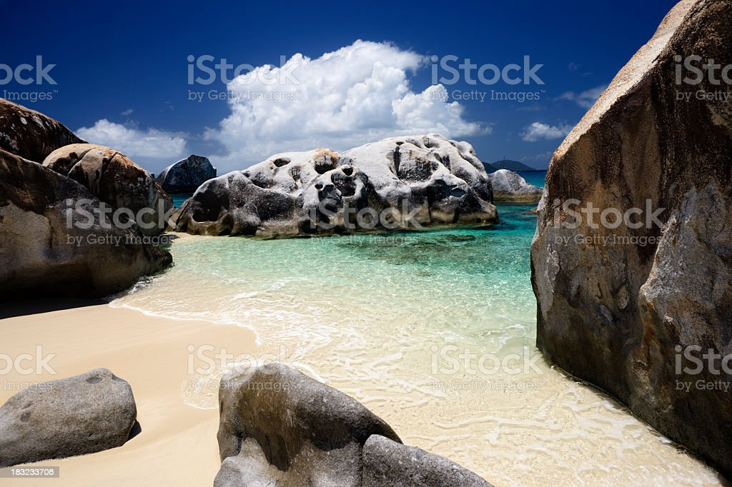 The Baths - boulders at Virgin Gorda beach, BVI stock photo