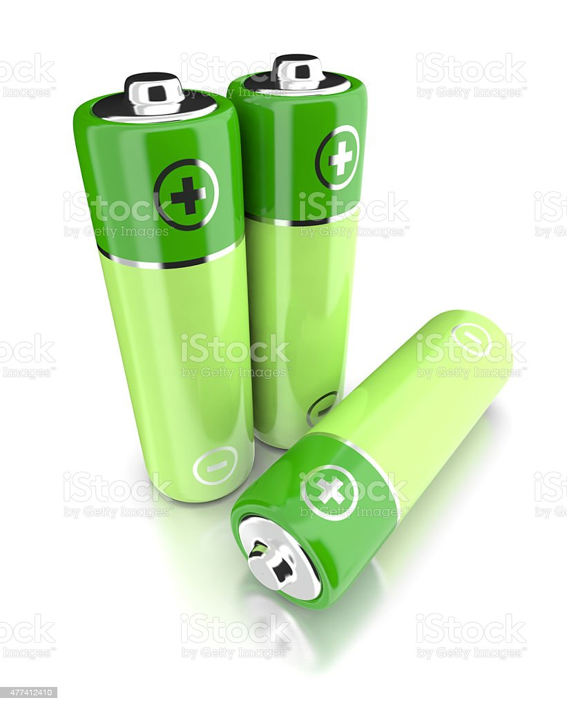 The batteries on a white. royalty-free stock photo