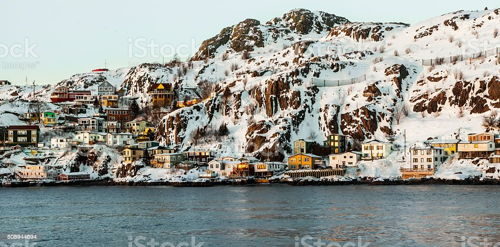 The Battery at dusk in St. John's, Canada. stock photo