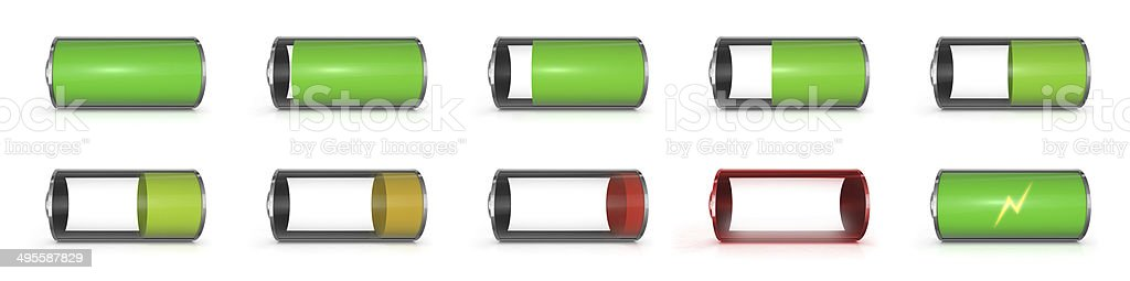 the battery level on a mobile phone stock photo