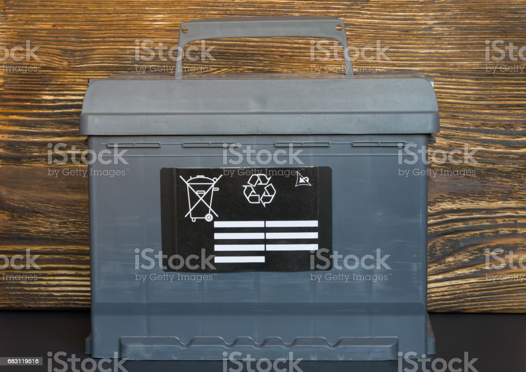 the battery shows that it is forbidden to throw away batteries stock photo