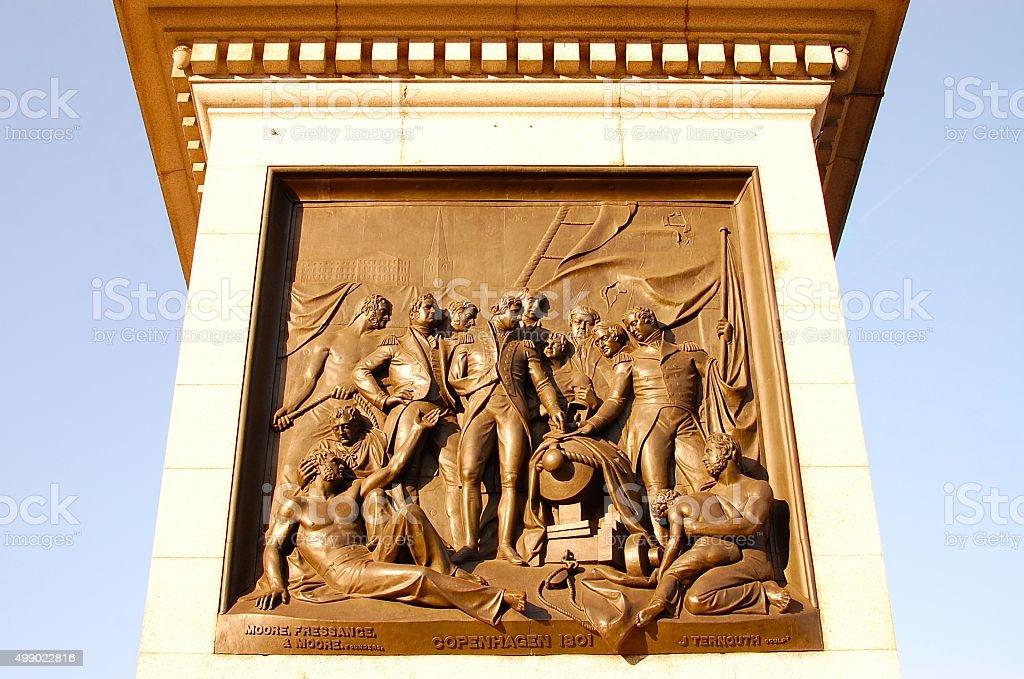 The Battle of Copenhagen on Nelson's Column, Trafalgar Square stock photo