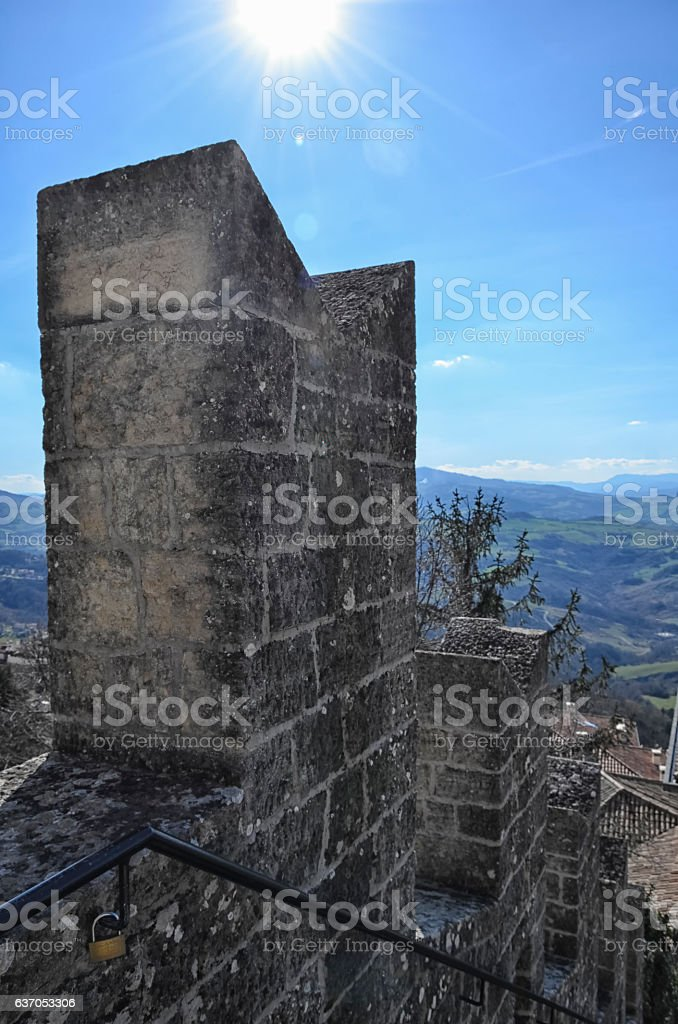 The battlements of the fortress stock photo