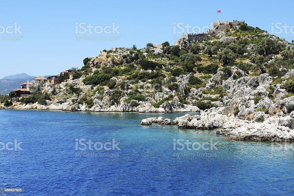 The bay and castle in Kekova, Turkey stock photo