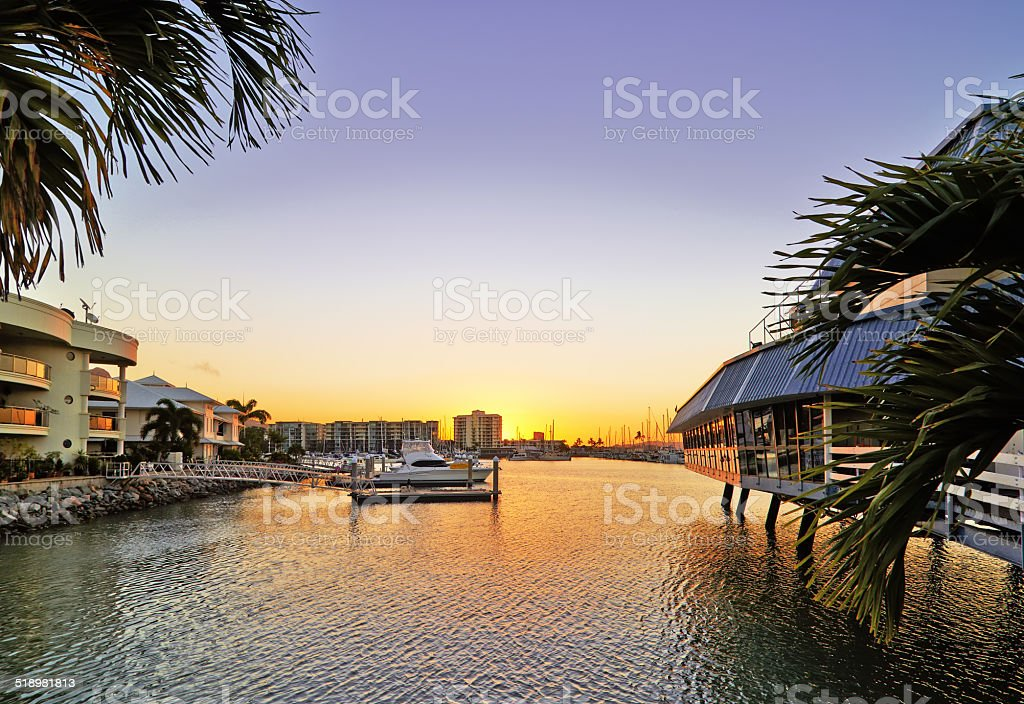 The bay at sunset stock photo