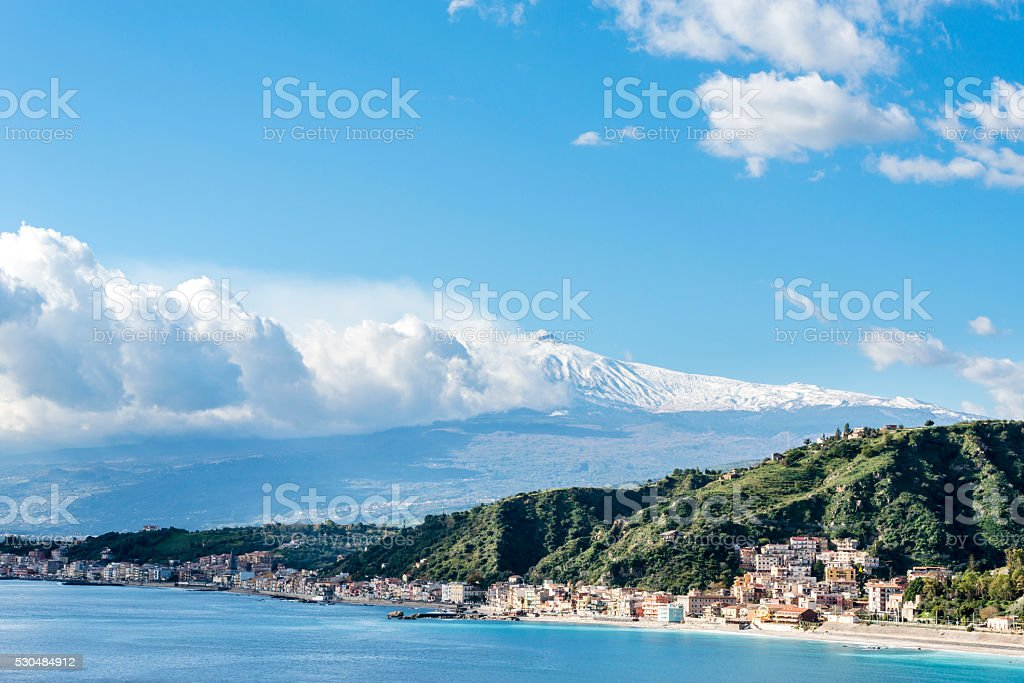 The bay of Giardini-Naxos.  Province of Messina. Sicily, Italy. stock photo