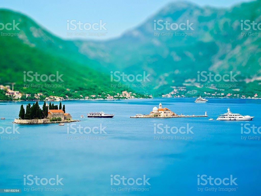 The Bay of Kotor, Adriatic Sea, Montenegro, tilt shift effect stock photo