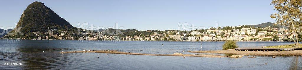 The bay of lake Lugano on Switzerland stock photo