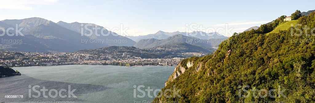 The bay of Lugano on Switzerland stock photo
