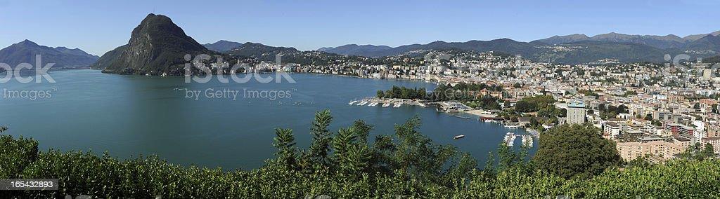 The bay of Lugano stock photo