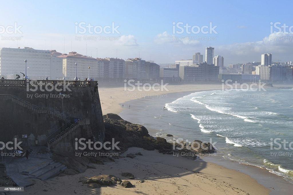 The beach and boulevard of A Coru?a stock photo