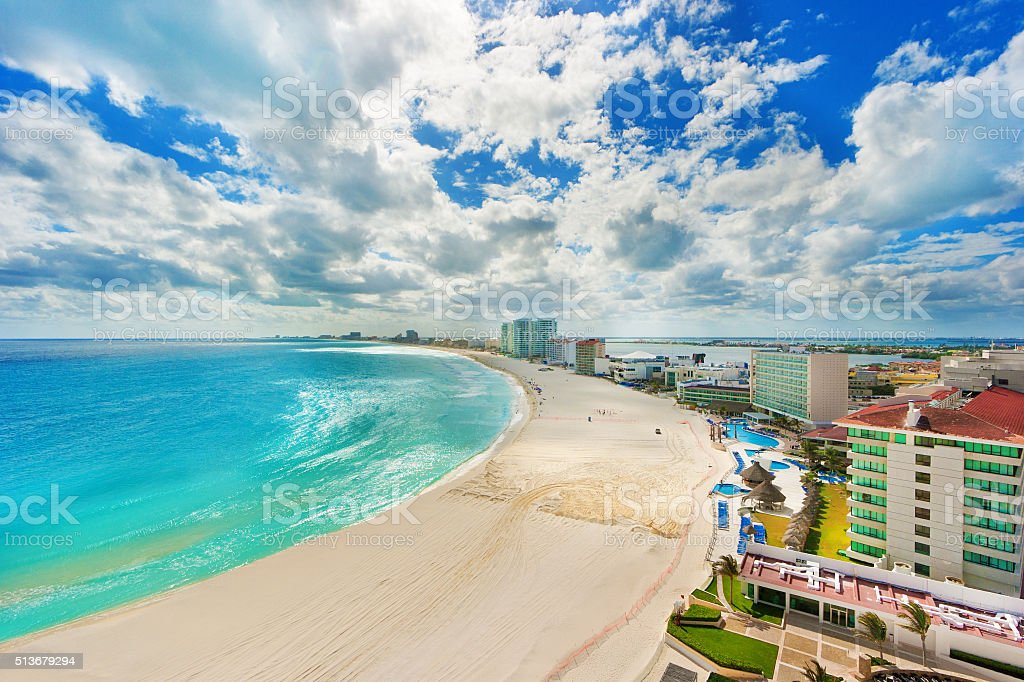 The Beach and Hotel District of Cancun Mexico stock photo