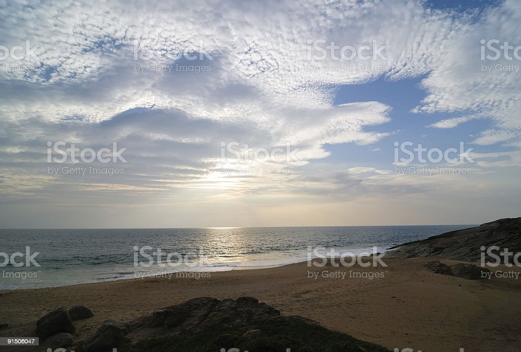 The Beach and Sky of Kovalam stock photo