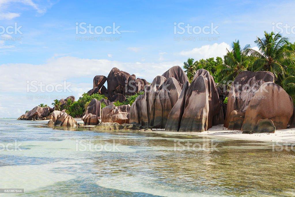 The beach and surrounding rocks. stock photo