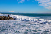 The beach and the waves, Ligurian sea, Italy