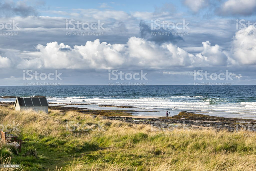The beach at Bamburgh stock photo