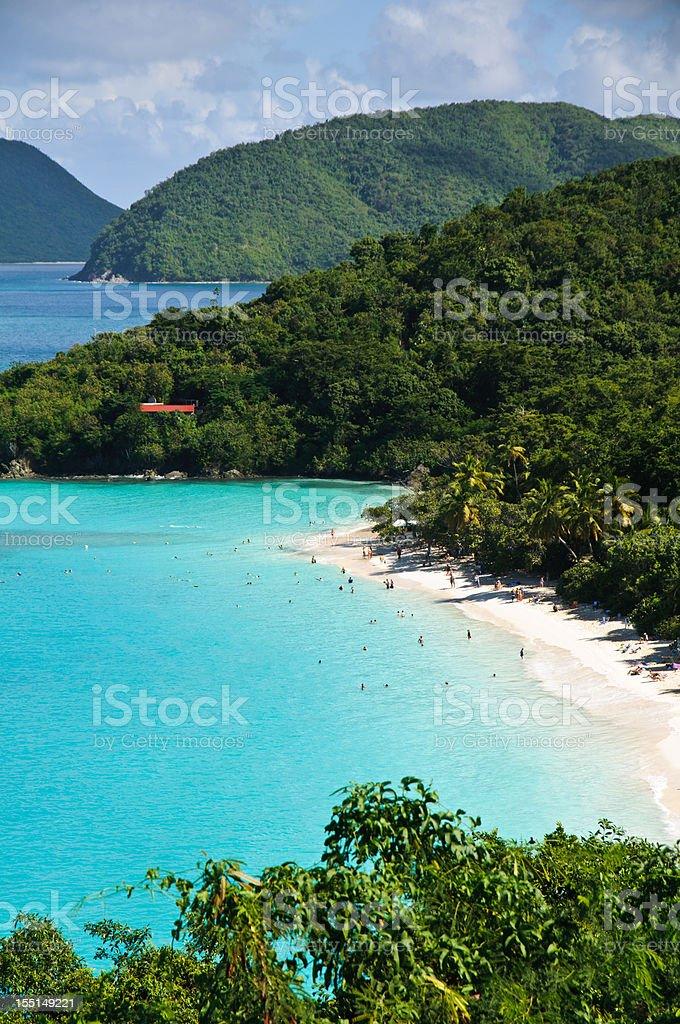 The Beach at Maho Bay stock photo