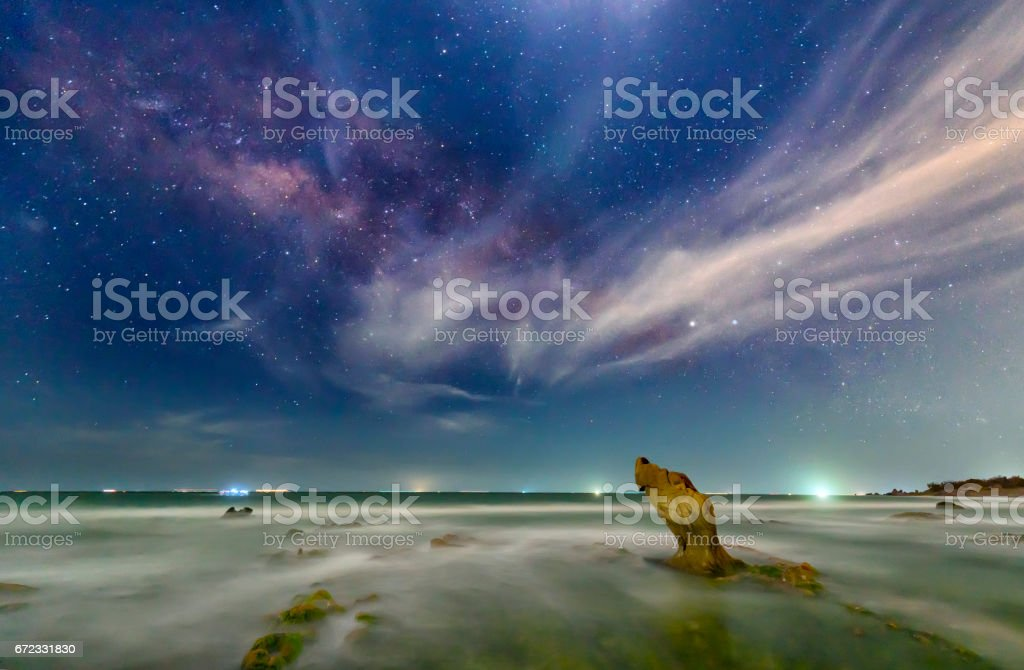 The beach at night with a rock toward the stars and sparkling galaxy...