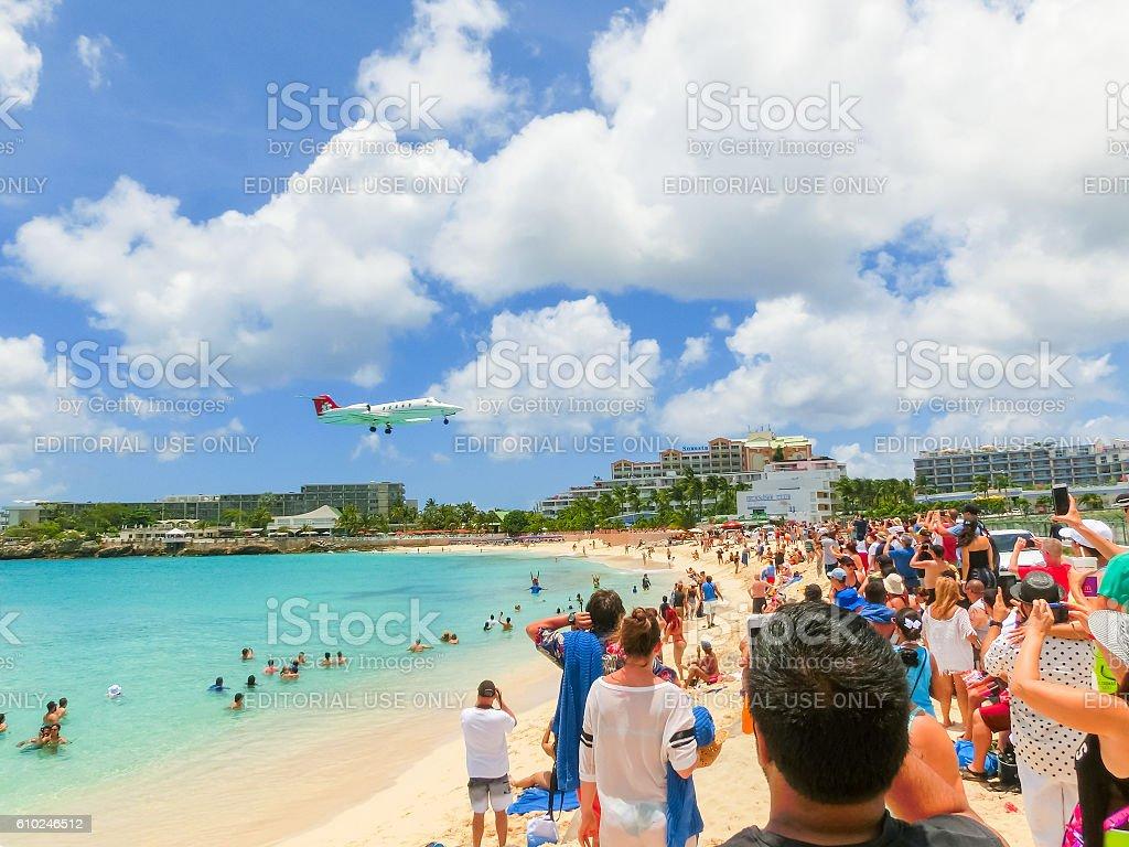 Philipsburg, Sint Maarten - May 14, 2016: The beach at stock photo