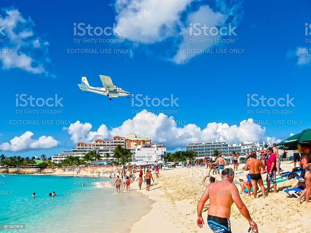 Philipsburg, Sint Maarten - February 10, 2013: The beach at stock photo
