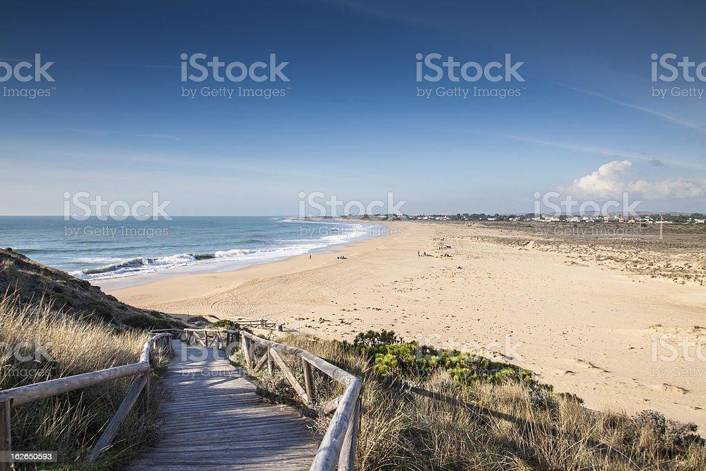 The beach at the Cape of Trafalgar stock photo