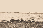The beach background vintage filter effect