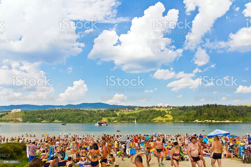 The beach by Czorsztyn Lake stock photo