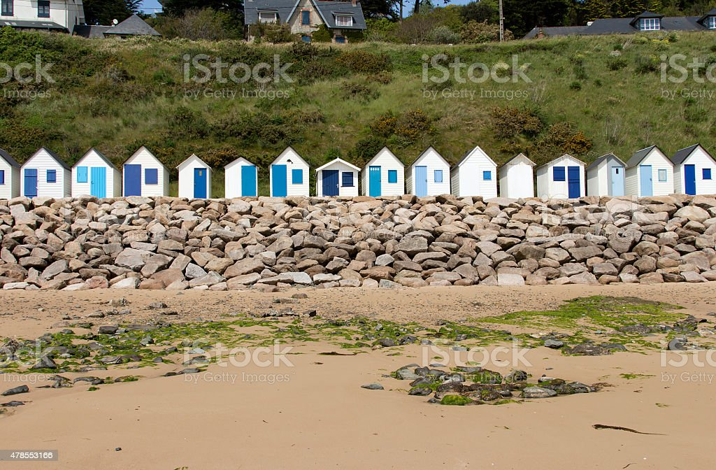 The beach cabins royalty-free stock photo